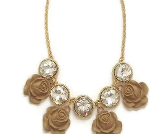 Rose Bib Necklace - Rose Pendant Necklace - Rose Necklace - Vintage Bib Necklace - Vintage Necklace - Bib Necklace - Vintage Rose Necklace