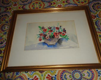 "Lovely Glass framed Floral Watercolor size 18 1/2"" X 14 1/2"" Signed Martha Floyd 1969"