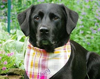 Dog Bandana, Dog Scarf, Personalize Plaid Dog Bandana, Reversible Plaid Pet Scarf, Custom Personalized Dog Lovers Gift by Three Spoiled Dogs