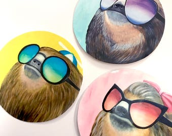 Sloth Family Meme Animals with Sunglasses 4 x 4 Indoor Sticker