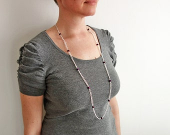 Long chain necklace purple bead necklace minimalist long necklace sparkly necklace for women