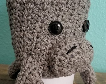 Crochet Manatee Cup Cozy, Cup Holder, Cozie, Cosie, Drink Holder, Cup Decoration, Ami, Kawaii, Cup Sleeve, Cup Cover