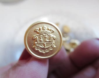"""Shank Buttons Brushed Gold Metal  5/8"""" Heraldry Crest Nautical 16mm-36 pieces"""