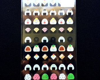 Japanese Food Stickers - Onigiri  Stickers - Cute Rice Ball Stickers - Chiyogami Paper Stickers S241