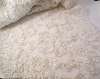 """Ivory Beaded and Sequined French Alencon Bridal Lace Trim 17"""" Wide--One Yard"""