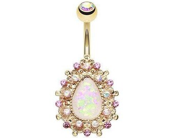 Gold Belly Ring with Opal Center