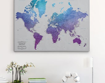 Push pin map canvas etsy gallery wrapped personalized canvas map vibrant violet watercolor world map with pins 24 x 36 push pin travel map watercolor pin map gumiabroncs Choice Image