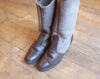 Winter boots Brown bimatieres filled 70's