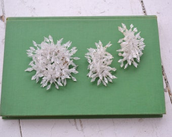 1960s Ice Crystal Brooch and Clip Earrings Set