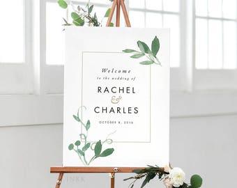 Modern Botanical Printable Welcome Sign Poster - Wedding Welcome Sign - Wedding Reception Sign Printable Wedding Signs  - (Item code: P183)