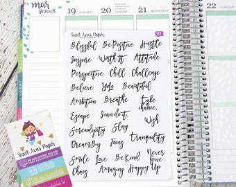 Positive Day Planner Stickers - Script Planner Stickers - Lettering Planner Stickers - List Planner Stickers - Fits Most Planners - 339