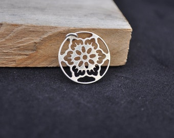 Sterling silver floral pendant - Floral jewelry - Flower pendant - snowflake pendant - Holiday jewelry JS1100