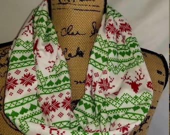 Christmas Pattern Jersey Knit Infinity Scarf