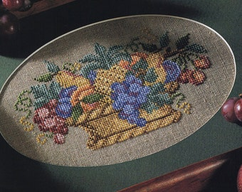 Cross Stitch Chart -FRUIT BASKET SAMPLER  - Pattern Needlework X-Stitch