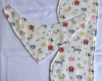 Bandana bib & Burp cloth set - Farm Animals