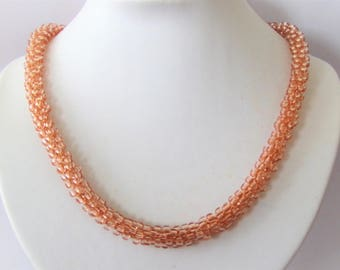 Champaign coloured Kumihimo necklace