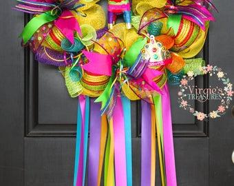 Bright and Colorful Fiesta Wreath, Fiesta 2018 Wreath, Viva Fiesta San Antonio Wreath, Cinco De Mayo, Charro Days, Fiesta Theme Party Decor
