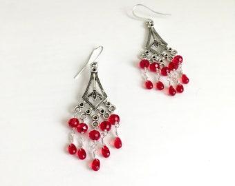 Silver Earrings / Chandelier Earrings / Handmade Jewelry / Unique Jewelry / Teardrop Earrings / Gifts for Her / Red Crystal Earrings
