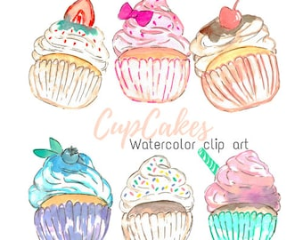 Watercolor Clip Art - Cup Cake Clip Art,  bakery clip art Food Clip art set for Commercial Use