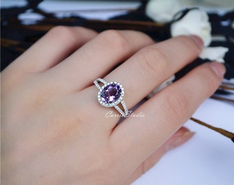 Natural Amethyst Ring Amethyst Engagement Ring/ Wedding Ring Sterling Silver Ring Anniversary Ring Silver Gemstone Ring Promise Ring