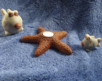 Starfish Tea Light Holder made from reclaimed Mahogany