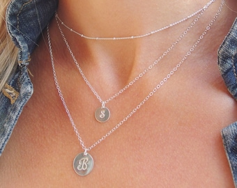Double Layered Initial Necklace Layering Necklace Multi strand necklace Initial necklace Layer Necklace Set of 3 Initial Layering Necklace