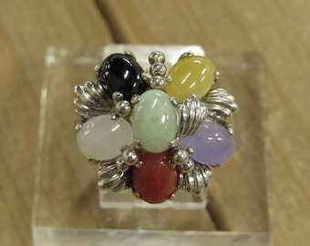 Vintage Sterling Silver Jade Ring Size 7.25
