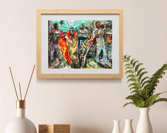 Fiesta del Vejigante Art Print by Obed Puerto Rican Artist Caribbean Culture Carnaval Wall Art Latino Home Decor Afro Latino Art Afro Latina