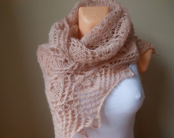Lace shawl mohair yarn  light pink, hand knitted, triangular shawl