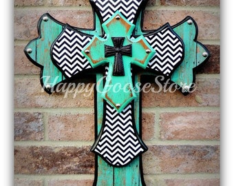 Wall Cross - Wood Cross - Medium - Antiqued Turquoise, Aged Turquoise Wood, Black & White Chevron