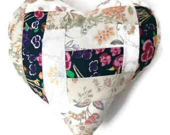 "Country Chic 14"" Handmade Stuffed Heart Cushion / For the home / Home Decor / Throw Pillow / Modern Pillow"