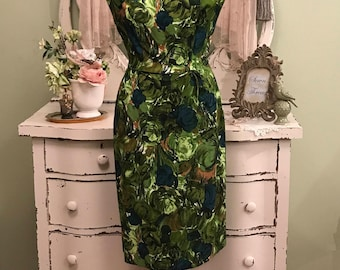 Vintage Hawaiian Dress, Vintage Tiki Dress, Green Print Dress, MS-M, Cotton Vintage Dress, Vintage Hourglass Dress, Elegant Vintage Dress