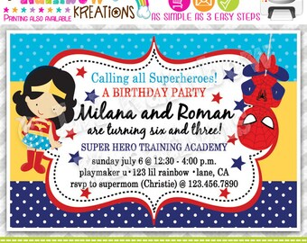 730: DIY - Super Hero 18 Party Invitation Or Thank You Card