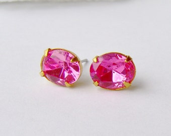 Pink oval rhinestone stud earrings / Swarovski crystal / BCA / Valentine gift / birthday gift / gift for her / pink / girlfriend gift