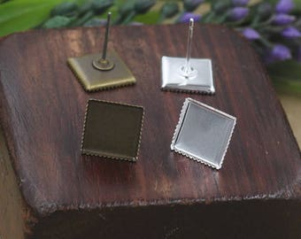 Wholesale 100 Square Post Earrings- Brass Antique Bronze/ Silver Plated Jagged Frame 10mm/ 12mm Square Bezel Ear Studs Earring Blanks- Z5936