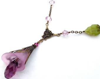 Mauve calla lily pendant necklace - antiqued brass, Austrian crystal, filigree layers, lucite flower. Art Nouveau style, Boho floral jewelry