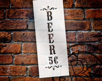 Beer - Decorative Vertical - Word Art Stencil - Select Size - STCL1887 - by StudioR12