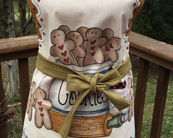 Gingerbread apron, cookie baking apron, one size fits all, holiday apron, grandma gift, mom birthday gift, Christmas apron, Xmas baking, MIL