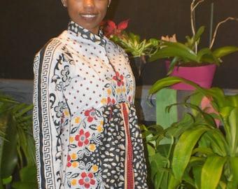 V Neckline with standup collar apron front 100% Khanga cotton fabric