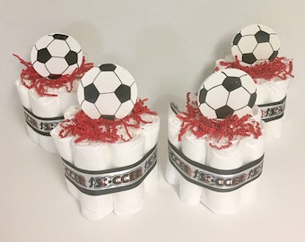 Soccerball Mini Diaper Cakes. Sport Themed Baby Shower. Baby Shower Gift or Centerpiece. Decorations. Boy Bbay Shower. Girl Baby Shower.