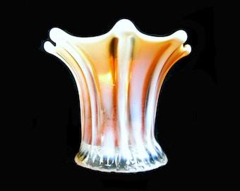 Carnival glass,Opalescent glass,Vintage Dugan,peach opalescent vase,miniature vase,marigold vase,, # 32