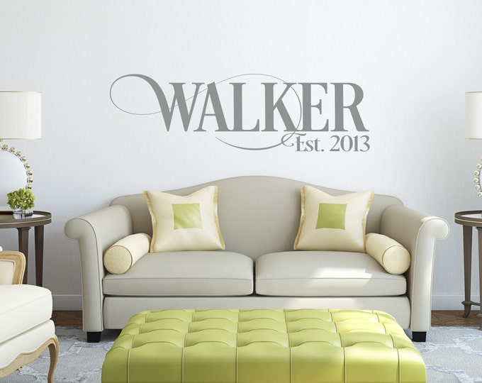 Family Name Decals For Walls // Personalized Family Name Sign // Name Wall  Decal