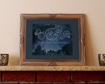 Run You Clever Boy featuring Doctor's Cot Gallifreyan - Instant Download, Printable, 8x10 Art Print