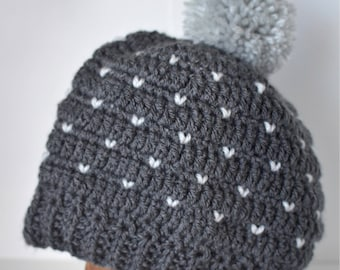 Adult heart pompom beanie // monochromatic grey hat // crochet toque