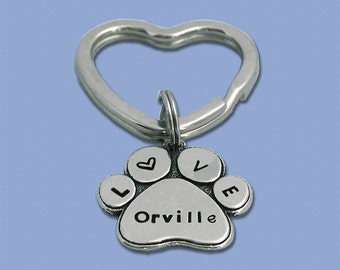 Personalized Paw Print Key Ring or Crate Tag - Hand Stamped Pewter - Love Paw
