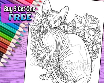Sphynx Cat - Adult Coloring Book Page - Printable Instant Download