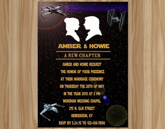 Items similar to FLASH SALE Star Wars Wedding Invitation Star Wars
