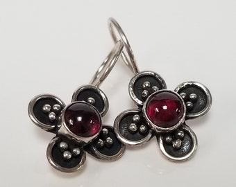 "3/4"" Ruby Dot Gem Estate Sterling 925 Silver Earrings Four Leaf Clover Studs Stud Sweet E38-1"
