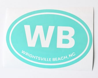 Vinyl Decal - Wrightsville Beach, NC Euro Oval