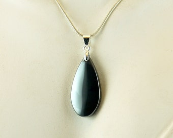 Hematite necklace, Hematite Tear Necklace, gunmetal necklace, hematite hear necklace, hematite jewelry